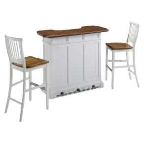 Americana Bar and Two Stools - White