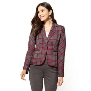 7th Avenue - One-Button Jacket - Red & Grey Plaid