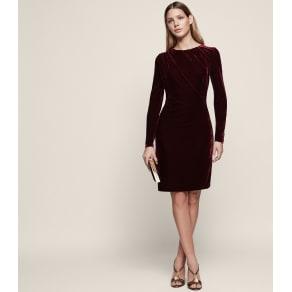 Reiss Matty - Velvet Drape-Detail Dress in Merlot