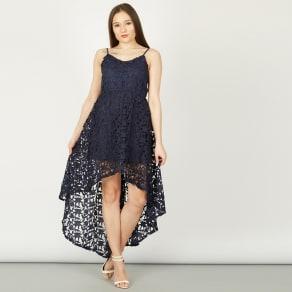 Izabel London Navy Lace High Low Dress