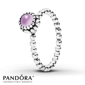 Pandora Birthstone Ring Amethyst Sterling Silver- Fashion