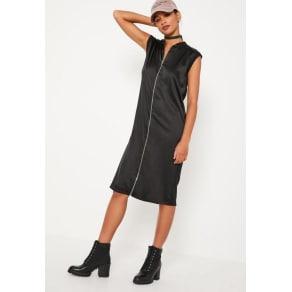 Black Zipped Satin Midi Dress, Black