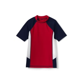 Lands' End Red Boys' Short Sleeve Colourblock Rash Guard