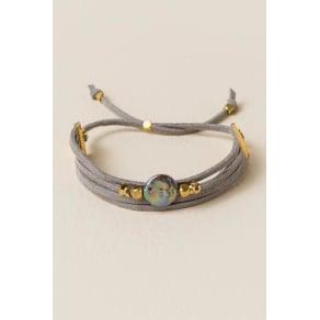 Jayden Suede Pearl Pull Tie Bracelet In Gray - Gray
