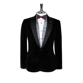 """""""Christopher Slim Fit Italian Black Velvet Evening Jacket"""""""