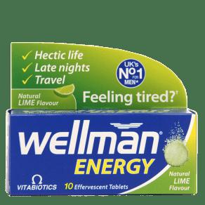 Vitabiotics Wellman Energy 10 Lime Flavour Effervescent Tablets - 10Tablets