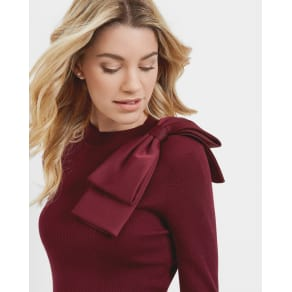 Ted Baker Bow Detail Ribbed Sweater Maroon