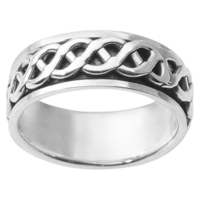 Men's Daxx Sterling Silver Spinner Band - Silver (7) (8mm)