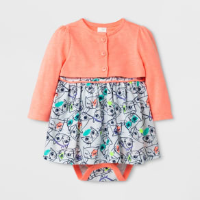 Baby Girls' 2pc A-Line Dress and Cardigan Set - Cat & Jack Floral/Peach 18 Months, Size: 18 M, Orange