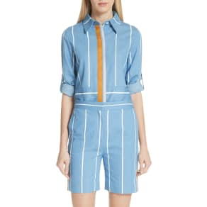 Women's Victoria, Victoria Beckham Ribbon Detail Stripe Shirt, Size 0 US / 4 UK - Blue