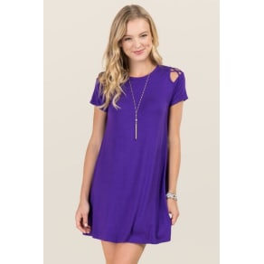 Jina Lattice Sleeve Knit Dress - Purple