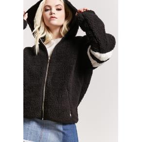 Varsity Faux Shearling Hooded Jacket