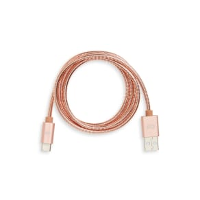 Candywirez 3-Foot Usb-C To Usb Stainless Steel Charging Cable, Size One Size - Pink