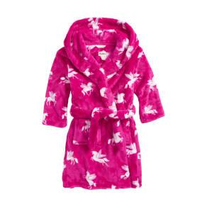 Girl's Hatley Winged Unicorns Hooded Fleece Robe, Size L (6-7) - Pink