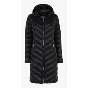 Fat Face Louisa Long Puffer Coat, True Black