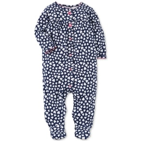 Carter's Heart-Print Cotton Footed Coverall, Baby Girls