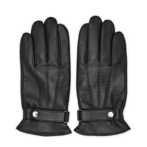 Reiss Foster - Leather Button Gloves in Black