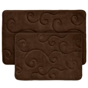 Swirl Memory Foam Bath Mat 2pc Chocolate (Brown) - Yorkshire Home