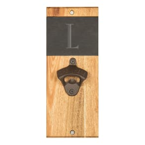 Cathy's Concepts Initial Slate & Acacia Wood Wall-Mount Bottle Opener
