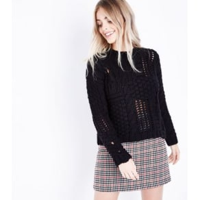 Petite Black Ladder Cable Knit Jumper New Look