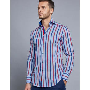 Men's Curtis Navy & Red Multi Stripe Slim Fit Shirt - High Collar - Single Cuff