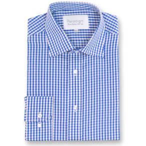 Men's Double Two Paradigm King Size Single Cuff 100 Cotton Shirt, Blue
