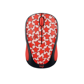 Logitech M317 Wireless Mouse - Red Stars ( 910-005306), Multi-Colored