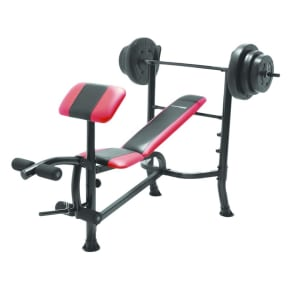 Competitor Pro Standard Bench With 100lb Weight Set, Multicolred