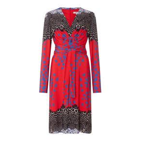 ISSA Kate tie printed wrap dress, Red Multi