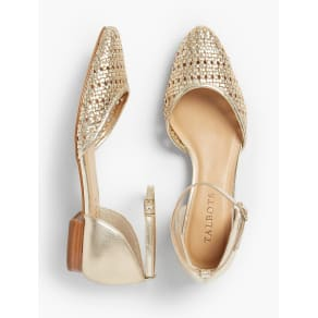 Talbots Women's Edison Woven d'Orsay Flats: Metallic Leather