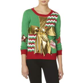 Bongo Juniors' Christmas Bow Sweater, Size: Medium, Green