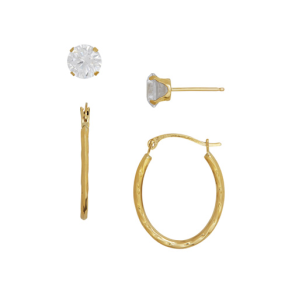 Waved Hoops and Cubic Zirconia Earring Set in 14k Yellow Gold