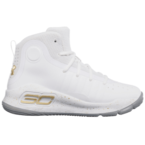 Boys Stephen Curry Under Armour Curry 4 - Preschool - White/Met Gold/White