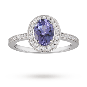 Oval Tanzanite and Diamond Ring in 9 Carat White Gold - Ring Size L
