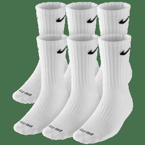 Nike 6 Pack Dri-Fit Crew Socks - Mens - White