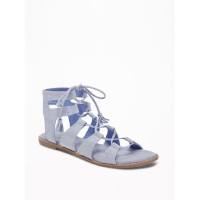 Old Navy Womens Chambray Gladiator Sandals For Women Light Tone Chambray -