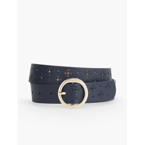 Talbots: Perforated Clover Leather Belt