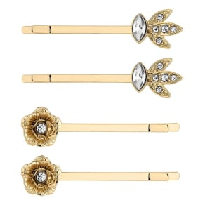 Butterfly by Matthew Williamson Designer Gold Floral Hair Slide Set