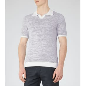 Reiss Thompson - Textured Polo Shirt in Grey