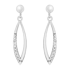 9c White Gold Cubic Zirconia Drop Earrings