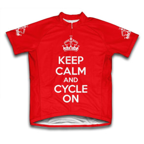 Scudo Keep Calm and Cycle on Microfiber Short-Sleeved Cycling Jersey, Red, 3xl