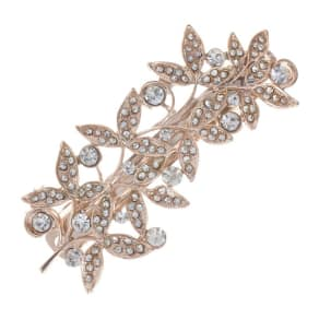 Butterfly by Matthew Williamson Designer Rose Gold Crystal Leaf Hair Clip