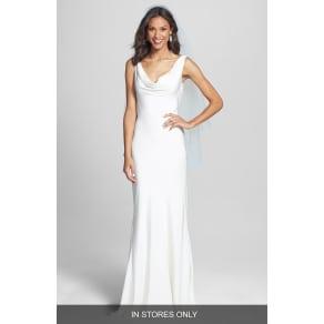 Women039s Bliss Monique Lhuillier Draped Neck Silk Crepe Wedding Dress