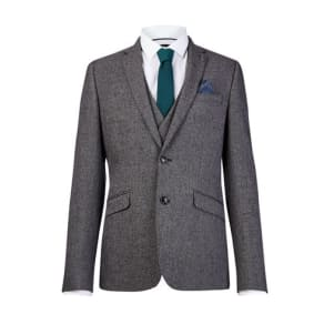 Mens Charcoal Textured Skinny Fit Suit Jacket, Grey