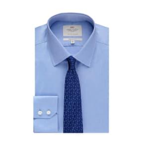 Men's Formal Blue Pique Extra Slim Fit Shirt - Single Cuff - Easy Iron