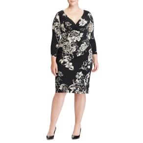 Plus Size Women's Lauren Ralph Lauren Floral Faux Wrap Jersey Dress, Size 14w - Black