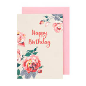 Eiderdown Rose Happy Birthday Card