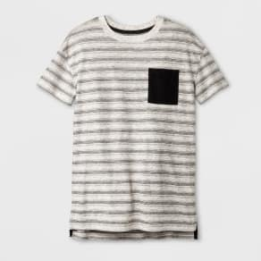 Boys' Short Sleeve Stripe T-Shirt - Cat & Jack Black/Off-White L