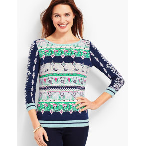 Talbots Women's Floral Tapestry Sweater