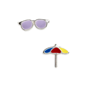 Girl's Tomas Sunglasses & Beach Umbrella Sterling Silver Stud Earrings